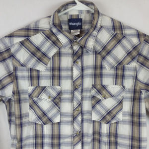 Plaid Checks Country Western Pearl Snap Button